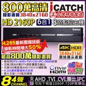 【台灣安防】可取 H.265 800萬 8路4聲監視器主機 8路DVR 監控主機 2160P 5MP/4MP/1080P/960H DTV AHD