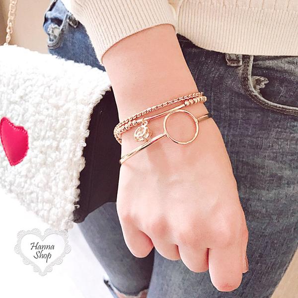 《花花創意会社》韓味。三件式圓圈金色手環【H6473】