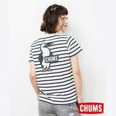 CHUMS 日本 女 Booby LOGO 短袖T恤 藍白條紋 CH111326W011