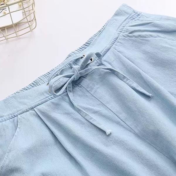 M七分寬褲  蝴蝶結刺繡系帶-月兒的綺麗莊園