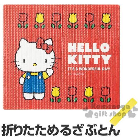 〔小禮堂〕Hello Kitty 附束帶折疊式坐墊《大.紅.鬱金香.70年代系列》居家.汽車內使用4973307-31895