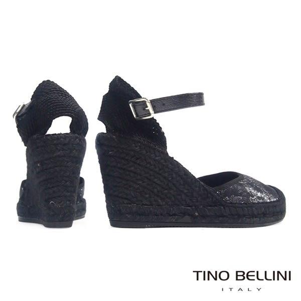 Tino Bellini 西班牙進口渡假風情繫踝麻底楔型鞋(黑)_A63073 2016SS 歐洲進口款