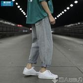牛仔褲夏季日系薄款簡約直筒工裝牛仔褲男潮牌大碼寬鬆九分褲子韓版潮流 潮人