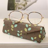 眼鏡盒眼鏡盒太陽鏡盒三角形摺疊便攜抗壓綠色棕色文藝清新 晴天時尚館