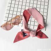 小絲巾女韓國細窄長條小圍巾印花chic發帶裝飾百搭小領巾