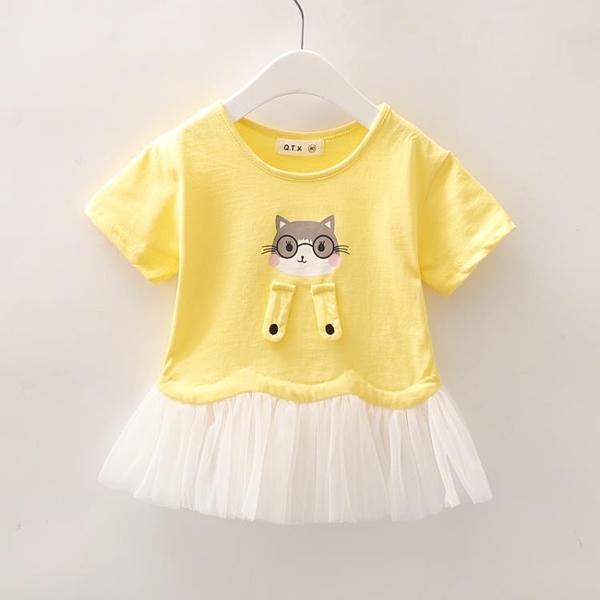 女童T恤裙子夏裝2021新款幼兒童裝女寶寶短袖上衣裙可愛 茱莉亞