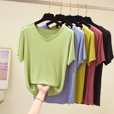 V領上衣純色T恤中大尺碼L-4XL5個顏色 胖mm短袖t恤女v領200斤上衣4F081.韓依紡