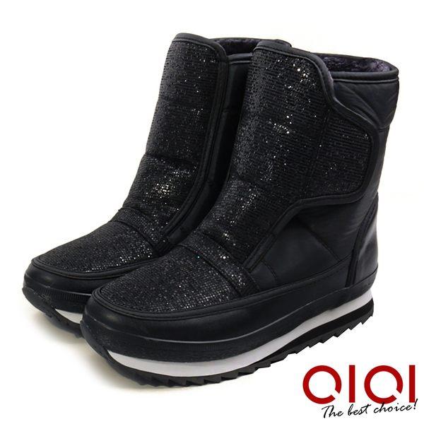 雪靴 個性視覺防潑水厚底運動雪靴(全黑)* 0101shoes 【18-3695bk】【現+預】