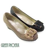U23-21301女款足弓氣墊楔型包鞋 典藏風範雙層緞面蝴蝶結全真皮足弓氣墊楔型包鞋