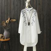 復古刺繡立領條紋襯衫女長袖棉麻上衣襯衣