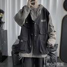 薄外套 工裝外套男春秋薄款假兩件機能風夾...