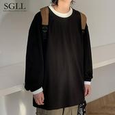 日系男裝百搭寬鬆韓版潮帥氣長袖t恤男假兩件休閒純色青少年上衣 提拉米蘇
