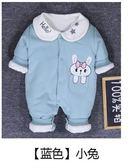 新生兒連體衣春裝嬰兒女寶寶套裝0一1歲哈衣純棉薄棉保暖夾棉衣服