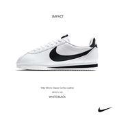 IMPACT Nike Wmns Classic Cortez Leather 阿甘 休閒 女鞋 白底 黑勾 黑尾 807471 101