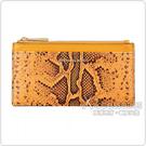 MK MICHAEL KORS MONEY PIECES金字LOGO蛇紋設計牛皮9卡拉鍊卡片零錢包(大/金盞花橘)