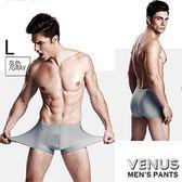 情趣用品 男用三角內褲  VENUS 平角內褲 無痕冰絲 透明超薄一片式 四角褲 灰 L