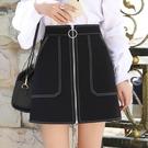 短裙女 2020春季新款前拉鏈高腰半身裙a字短裙女夏黑色顯瘦包臀一步裙子