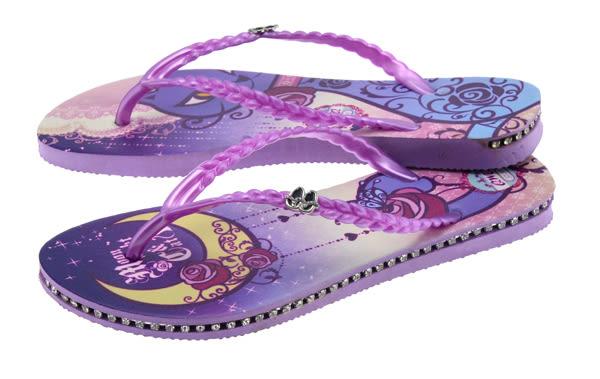 QWQ創意鞋-  Moon Night & Cat 施華洛世奇水鑽夾腳人字拖鞋- 紫 (范特西系列 )