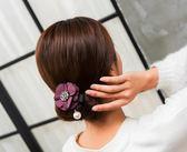 丸子頭水鑚花朵盤發器韓國發帶頭飾造型器百變蓬鬆花苞頭扎頭