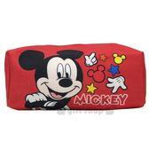 〔小禮堂〕迪士尼米奇厚帆布拉鍊化妝包《紅站姿》萬用包收納包筆袋8039320 40212