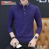 Polo衫男裝長袖t恤韓版潮流天男士衣服上衣體恤翻領襯衫領帥 小艾時尚