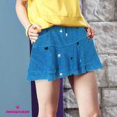 【SHOWCASE】俏麗刺繡波浪層次牛仔短裙(藍)