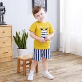 齊齊熊嬰兒夏季短袖短褲套裝新款男女寶寶卡通純棉T恤兩件套 【快速出貨】