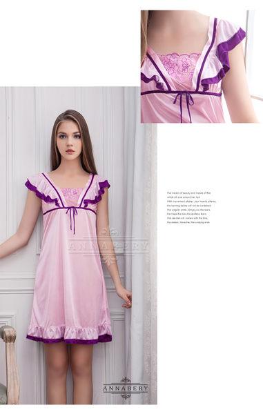 大尺碼 Annabery粉紫撞色小蓋袖柔緞睡衣 (OS小舖)