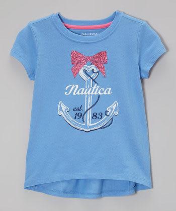 Nautica短袖上衣 船錨圖案女童藍色短袖T恤 M(5) (Final sale)
