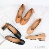 舒服!復古小皮鞋修腳方頭奶奶鞋女秋時尚百搭大碼粗跟高跟鞋『小宅妮時尚』