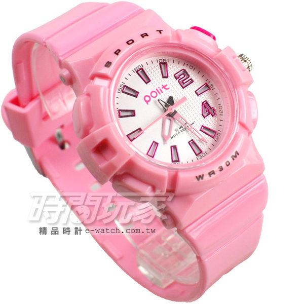 Polit 休閒造型運動錶 霓虹夜光 童錶 女錶 PO9993粉紅