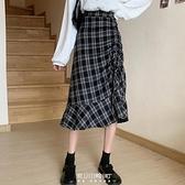 中長款小個子格子半身裙女秋季2020新款高腰裙子設計感秋冬A字裙 快速出貨