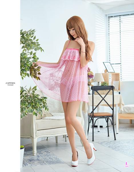 睡衣 性感睡衣 星光密碼【M060】 甜美粉刺繡點點透視薄紗二件式性感睡衣