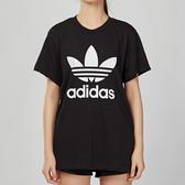 Adidas Originals 女款 黑色 三葉草LOGO 短袖 上衣 DX2323