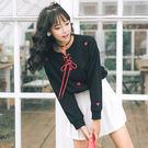 VK精品服飾 韓國學院風休閒綁帶愛心刺繡學生T恤長袖上衣