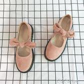 娃娃鞋 春夏圓頭學生小皮鞋女日繫低跟單鞋娃娃鞋粉色 新品