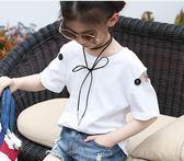 童裝女童半袖白色T恤中童短袖丅恤 ZL287『miss洛羽』