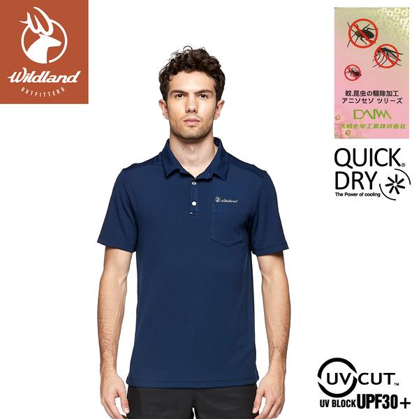 【Wildland 荒野 男 彈性防蚊抗UV排汗上衣《深藍》】0A81622/POLO衫/運動衣/休閒衫