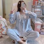 睡衣 珊瑚絨睡衣女春春季加厚保暖甜美可愛法蘭絨家居服兩件套裝藍色【快速出貨八折下殺】