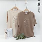 人物線條抽像畫印圖長版T恤上衣-BAi白媽媽【310316】