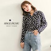長袖 襯衫 Space Picnic|現貨.色塊小三角設計雪紡長袖襯衫【C18011091】