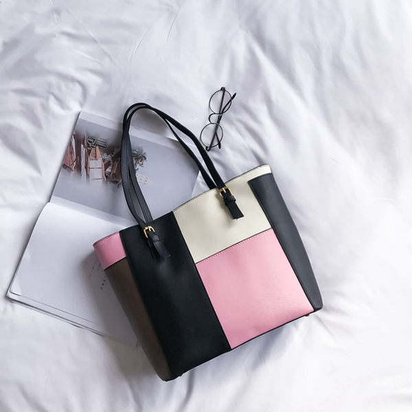 潮女大包 包包新款女包日韓版時尚簡約托特包百搭手提包撞色單肩包大包【快速出貨八折搶購】