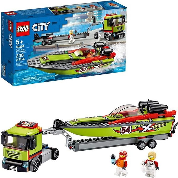 LEGO 樂高 City Race Boat Transporter 60254 Race Boat Toy Fun Building Sets for Kids New 2020(238 Pieces)