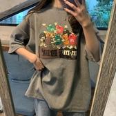 中長款T恤 韓版2020新款夏季打底衫上衣灰色中長款寬鬆大碼t恤女短袖ins潮 中秋降價