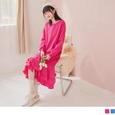 《DA8284-》溫暖厚刷毛層次荷葉蛋糕裙襬微寬版長洋裝 OB嚴選