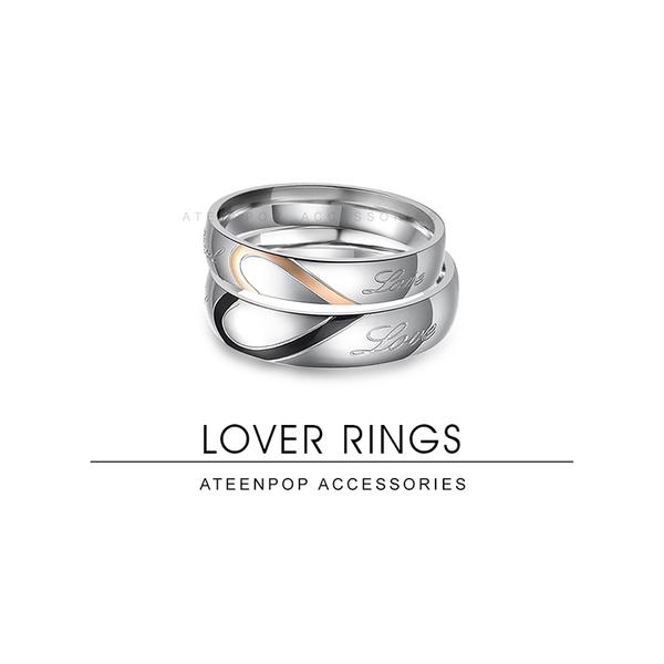 情侶對戒 ATeenPOP 情侶戒指 白鋼戒指 尋找另一半 愛心 單個價格 情人節禮物