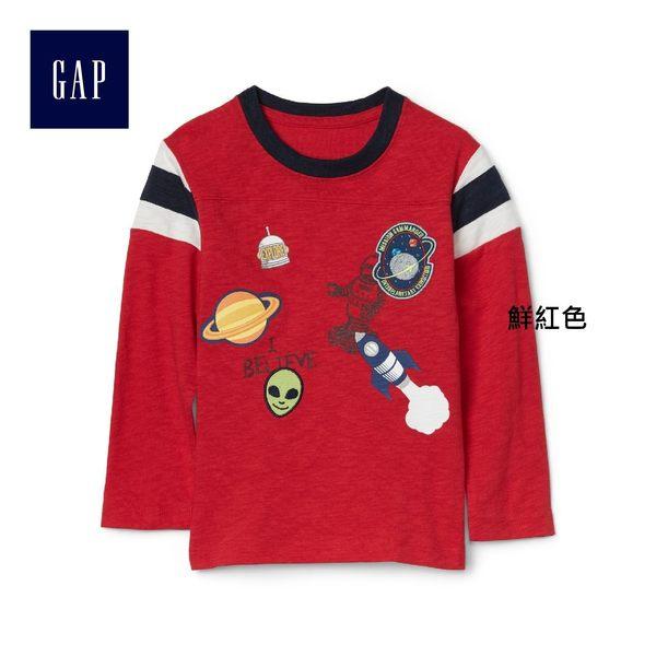 Gap男嬰幼童 舒適純棉妙趣圖案橄欖球長袖T恤 260218-鮮紅色