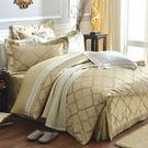 床罩組/雙人加大-100%純棉-中式全套-古典金-獨家花色-台灣製造-[湖光水影59190全套-古典金]-(好傢在)