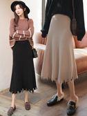 長裙-針織半身長裙女秋a字時尚新款黑色高腰顯瘦不規則中長款冬季 依夏嚴選
