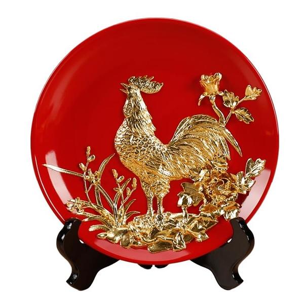 金雞報曉漆線雕掛盤子擺件書房博古架桌面擺設用品裝